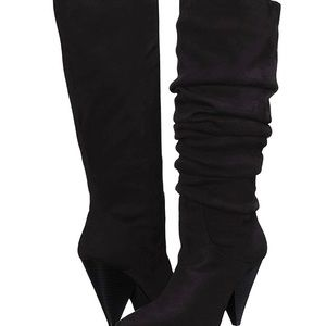 Women's Black Suede Knee High Slouch Boots